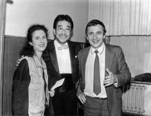 Зі скрипалькою Мадлен Мітчел (Велика Британія) та композитором і диригентом Сакае Сакакібара (Японія). 1994 р.