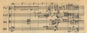 Фрагмент рукопису Музики для чотирьох струнних